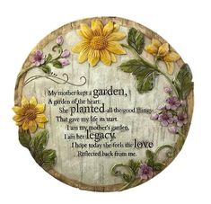 Purchase New Creative Commemorative, Indoor/Outdoor, Mother's Memorial Garden Stone at Discounted Prices ✓ FREE DELIVERY possible on eligible purchases. Memorial Garden Stones, Garden Stepping Stones, Loss Of Mother, Evergreen Garden, Wedding Gifts For Parents, Evergreen Enterprises, Garden Angels, Remembrance Gifts, Sympathy Gifts