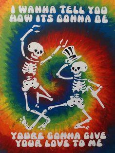 Grateful Dead dancing skeletons Painted by Lauren Tirro