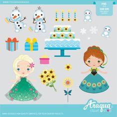 Frozen Fever Sunflower Birthday Clipart Set Instant by araqua