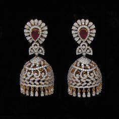 Latest Diamond Earring New Collection Diamond Jumkas, Diamond Earing, Diamond Pendant, Diamond Jewelry, Gold Jewelry, Gold Bar Earrings, Gold Earrings Designs, Gold Jewellery Design, Ear Jewelry