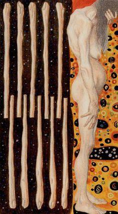 """Atanas A. Atanassov : Golden Tarot of Klimt , 78 cards : 22 Major Arcana and 56 Minor Arcana , Size12x6,6 cm . """"Minor Arcana -10 of Wands"""