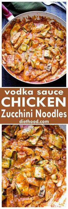 Vodka Sauce Chicken Zucchini Noodles - Diethood
