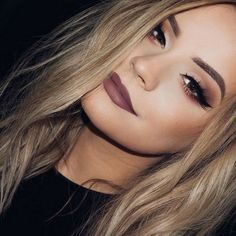 Makeup Inspiration 2017 | Wine colored lips, matte brown smokey eye with crease cut eyeshadow, and winged liner #eyemakeup