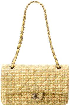 203ba7a6825dfb Boutiques. Tweed. Chanel Limited Edition Yellow Tweed Reissue 2.55 Medium  Double Flap Bag