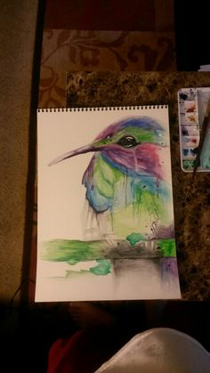 """Water colour hummingbird 11in. x 15in.  Medium : water colour Title """" Happy tears """""""