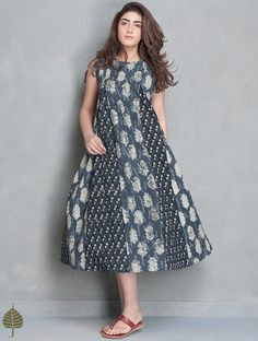 Buy Indigo Off White Black Block Printed Cotton Kali Dress by Jaypore SALE! Online at Jaypore.com