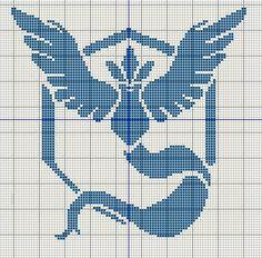 Buzy Bobbins: Pokemon GO team logo cross stitch design - Mystic, Valor and Instinct