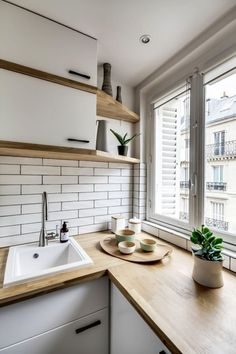 New kitchen design small apartments subway tiles 18 ideas Kitchen Corner, New Kitchen, Kitchen Small, Kitchen Wood, Kitchen Shelves, Kitchen White, Kitchen Cabinets, Kitchen Living, Kitchen Island