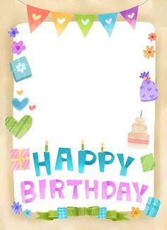 생일편지지 & 메모지 모음 ♡ : 네이버 블로그 Happy Birthday Frame, Happy Birthday Posters, Birthday Frames, Birthday Board, Happy Birthday Cards, Birthday Greetings, Birthday Wishes, Birthday Background Design, Happy Bird Day