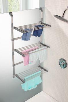 Séchoir à linge de douche : grilles dépliées