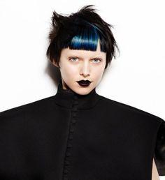 Petrol blue colour-blocked bangs by Saco Hair