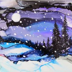 Alcohol ink winter night landscape painting art by Jewel Buhay