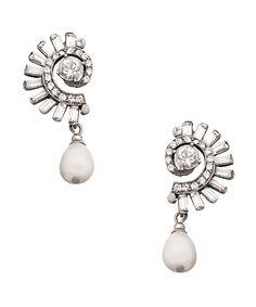 Ben-Amun Crystal Angel Wing Pearl Drop Earrings