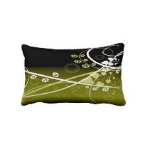 Gold and White Vine Pattern on Black Throw Pillows