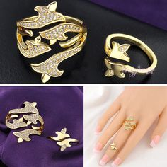 fashion Midi Ring Set cocktail ring Swarovski crystal ring adjustable R926 R927 #crazycenter #Cocktail