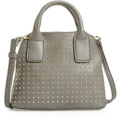 Women's Sole Society Amalia Studded Dome Faux Leather Satchel ($45) ❤ liked on Polyvore featuring bags, handbags, grey, handbag satchel, dome satchel handbag, vegan handbags, gray purse and dome satchels
