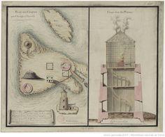 Plan des Casquets près d'Aurigny et Guernesey. Coupe d'un des phares