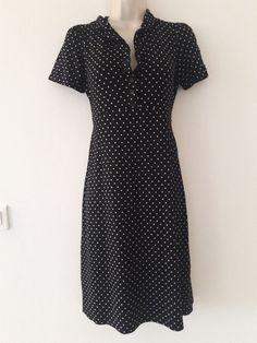 Agnès b. robe taille 36 ( 1 - S ) noir à petits pois blancs - Très bon état  #Robesempire
