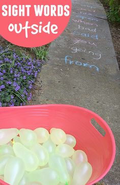 This game is a great way for the kids to play the sight words game outside! Write them down, get a lot of water balloons and call the words to them.
