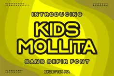 Kids Mollita is a simple and assertive display font. it works well on a variety of designs, particularly those related... Kid Fonts, Assertiveness, Modern Fonts, Premium Fonts, Improve Yourself, Display, Lettering, Simple, Creative