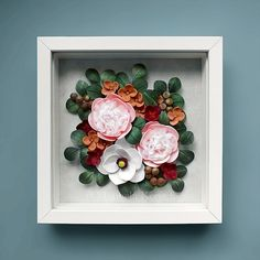 Floral Wall Art - Magnolia Art - Peony Illustration - Spring Flowers Decor - Quilling Paper Flowers - Peony Wall Art - Botanical Art This floral wall art is an original design entirely made by hand from paper strips in a technique called paper quilling. It features peonies and