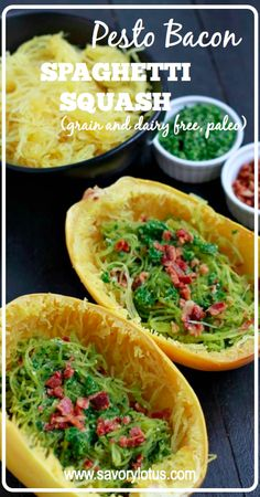 Pesto Bacon Spaghetti Squash (grain and dairy free, paleo) - savorylotus.com #food #dinner #paleo #realfood #grainfree #glutenfree #spaghettisquash
