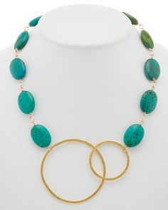 Spotted this Devon Leigh 14K & 18K Plated Turquoise Double Circle Necklace on Rue La La. Shop (quickly!).