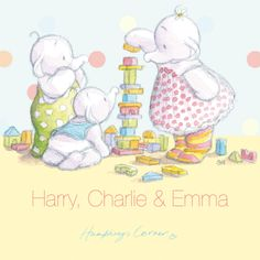 Humphrey's Corner Lottie Humphrey and Jack build a tower personalised canvas print
