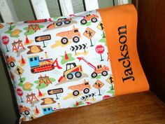 Construction Zone Personalized Travel Pillow by BabyPaige on Etsy, $16.99