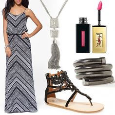 "Vacation ready #HeadToToeThursday: dress and jewels by Caché, shoes by Jeffery Campbell and lipgloss from YSL in ""fuchsia tomboy."""