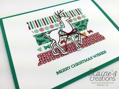 Use your washi tape! Stampin' Up! Christmas Card Santa's Sleigh Reindeer Card Elaine's Creations