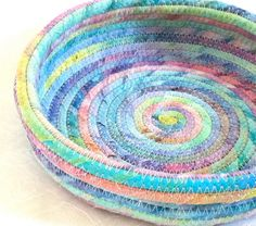 Coiled fabric bowl basket pastel rainbow colors by LeahsHeart, $17.00