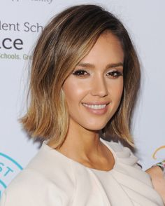 Jessica Alba's tousled blunt bob is perfect short hairstyle inspiration.