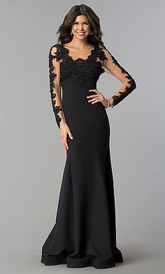 Long Sleeve Lace Fitted Wedding Dress Inspirational Long Black Prom Dress with Sheer Sleeves Lace Wedding Dress With Sleeves, Maxi Dress Wedding, Dresses To Wear To A Wedding, Black Prom Dresses, Homecoming Dresses, Dresses With Sleeves, Lace Sleeves, Bridesmaid Dresses, Formal Dresses
