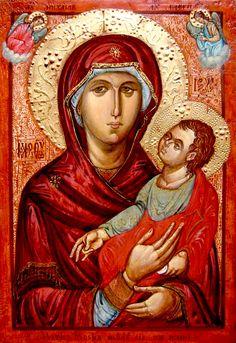 Theotokos (red) by Sergiusz Pomian of Moldova - contemporary