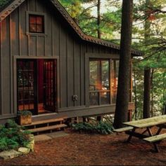 Likes, 28 Comments - The A. Mercantile+Outfitters (American Hatfield) on. Likes, 28 Lake Cabins, Cabins And Cottages, Small Cottages, Tiny House Cabin, Cabin Homes, Building A Shed, Building Plans, Building Design, Little Cabin
