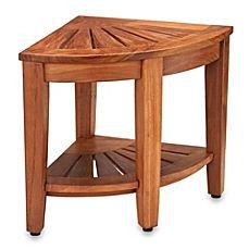 image of Solid Teak Corner Stool