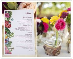 illustrated wedding menu  The Villa SJC Wedding  Flowers by La Partie Events  Photo by KLK Photography