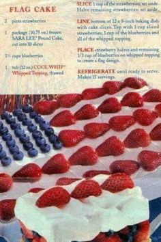 summer of July party desserts or Memorial Day sweet treats - no bake American red white and blue cake recipe block party food recipe Food Ideas for a BBQ Party - EASY Summer Cookout Foods We Love Sara Lee Pound Cake, Flag Cake, Summer Bbq, Summer Drinks, Party Summer, Cocktail Drinks, Summer Time, Cookout Food, Party Flags
