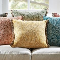ZARINE CUSHION 45X45CM Morgan & Finch, Pinned from bedbathntable.com.au. Love the intricate repeat and the colours!