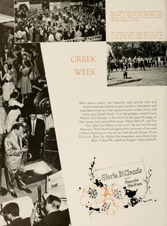 "Athena Yearbook, 1956. ""Greek Week""  ""After eleven events, the fraternity and sorority women had selected two queens and four attendants and had determined ten other award winners in their thirty-sixth consecutive Greek Week."" :: Ohio University Archives"