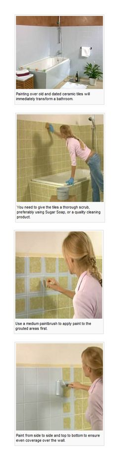 Painting Bathroom Tiles, must use special paint. Grout must be cleaned and dry. Use fine sandpaper to lightly rough up grout. High Gloss tiles: Rust-Oleum Specialty Tub & Tile Refreshing Kit Matte Tiles: Prominent Paints Eggshell To extend the life of the painted finish avoid using abrasive cleaning products.