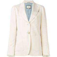 Gucci two button blazer ($2,500) ❤ liked on Polyvore featuring outerwear, jackets, blazers, nude, blazer jacket, long sleeve jacket, two button blazer, 2 button jacket and 2 button blazer
