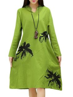 Vintage Ethnic Loose Knee-Length Long Sleeve Printed Microfiber Dress