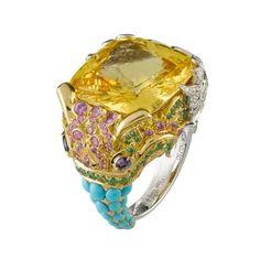 Van Cleef & Arpels Makara Yellow Sapphire Ring with Diamonds Garnets and Turquoise