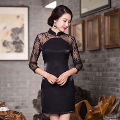 Noble Ladies Mini Cheongsam Vestido Hot Selling Traditional China Style Women Lace Satin Qipao Dress Size S M L XL XXL 246007
