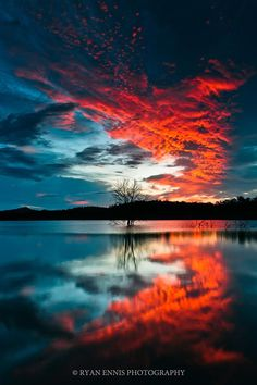 Sunset reflected in water