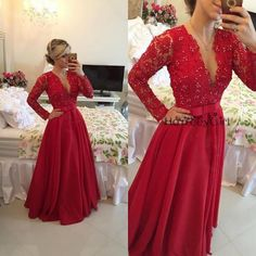 Prom Dress,Sexy Prom Dress,Dee V-neck Prom Dress,Full Sleeve Prom Dress, Red Prom Dress,Prom Dress 2015,Prom Gown,Long Prom Dress,Beaded Prom Dress HG 713