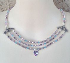 Necklace Multi Strand Style Purple Blue Swarovski Crystal Heart Pendant #Necklace #Statement #crystal #multistrand #vintage