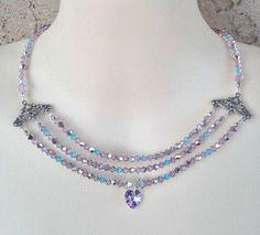 Necklace Multi Strand Style Purple Blue Swarovski Crystal Heart Pendant #Necklace #Statement #crystal #multistrand #vintage